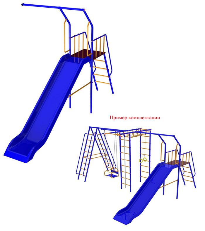 Дополнительный модуль с горкой для детских спортивных комплексов для дачи из серии Веселый непоседа