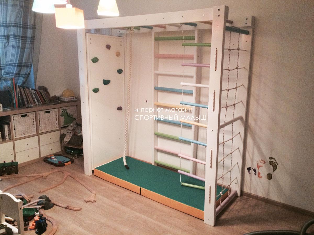 Деревянный спортивный уголок для детской комнаты ДСК Памир с рукоходом, шведской стенкой, веревочной лазалкой, скалодромом. Навеска возможна любая под заказ. Есть выбор размеров. Фото-отзыв от покупательницы. Процесс сборки.