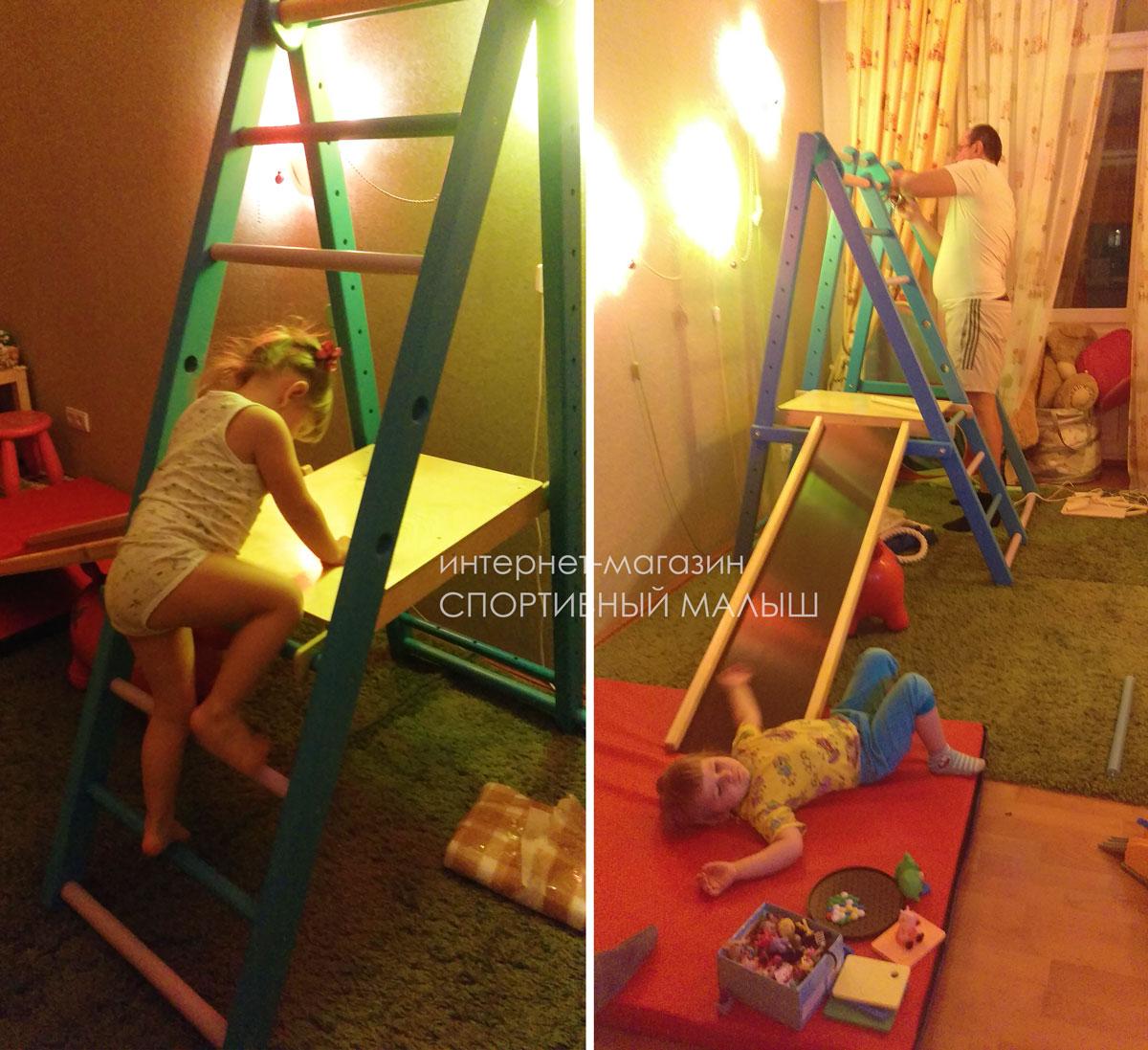 Складной спортивный комплекс Карапуз - компактная легко убирающаяся модель, удобная для квартир с небольшими комнатами.