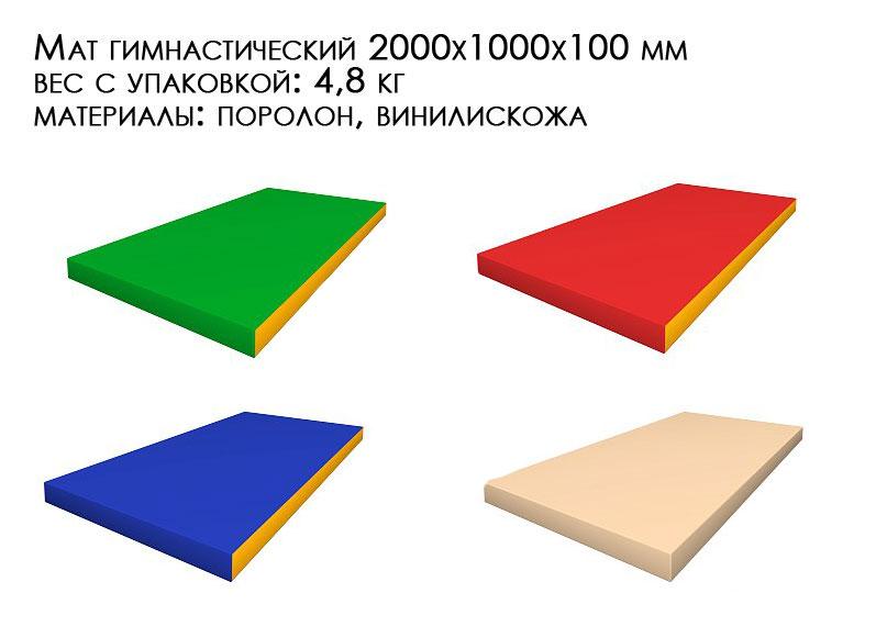 Гимнастический мат для детей и взрослых двухметровый цельный расцветка зеленый, красный, синий, бежевый